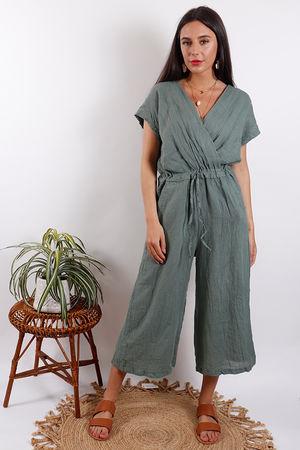 Rio Linen Jumpsuit Khaki