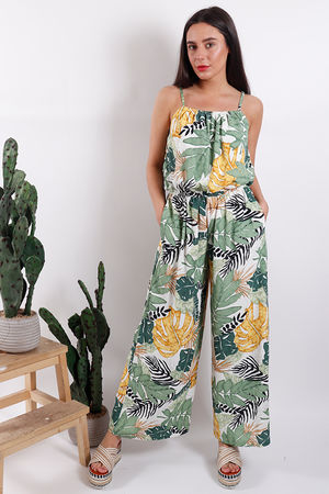 Rio Palm Print Jumpsuit White