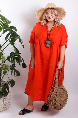 Rio Peasant Dress Tangerine