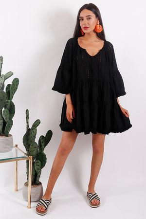 Rio Pom Pom Tunic Dress Black