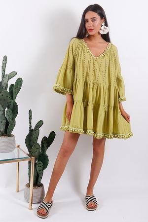 Rio Pom Pom Tunic Dress Lime