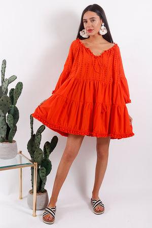 Rio Pom Pom Tunic Dress Tangerine