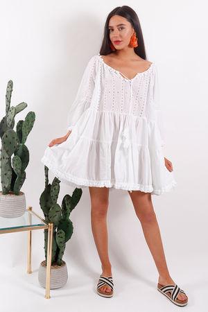 Rio Pom Pom Tunic Dress White