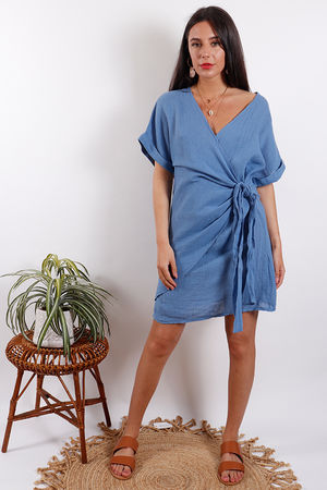 Rio Wrap Linen Dress Denim