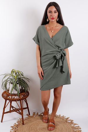 Rio Wrap Linen Dress Khaki