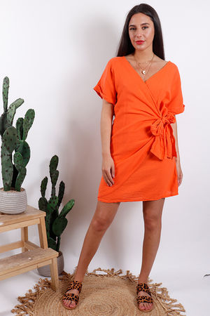 Rio Wrap Linen Dress Tangerine