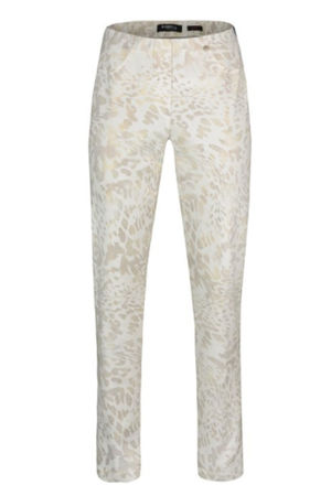 Robell Bella Metallic Animal White Trousers