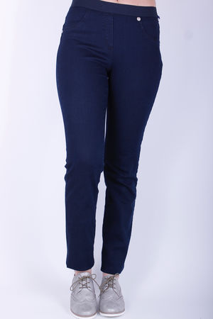 Robell Rose Elasticated Band Trousers Dark Indigo