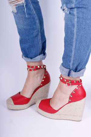 Rockstud Wedge Espadrilles Red