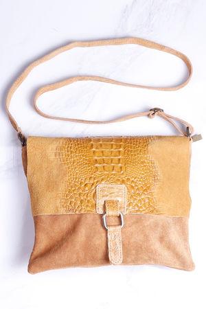 Rome Croc Messanger Bag Mustard