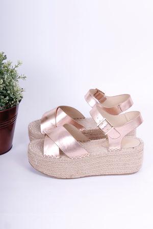 Rose Gold Espadrille Flatform Sandal