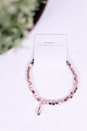 Rose Gold Tear Drop Pendant Bracelet