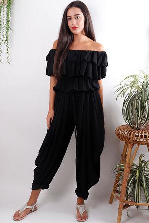 Ruffle Bardot Jumpsuit Black