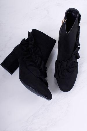 Ruffle Boot Black