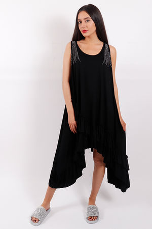 Ruffle Diamanté Tunic Dress Black