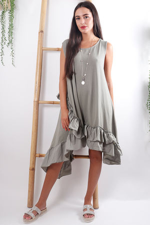 Ruffle Hem Dress Khaki