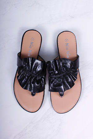 Ruffle Sandals Metallic Black