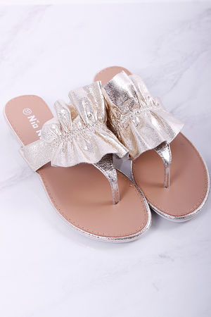 Ruffle Sandals Metallic Gold