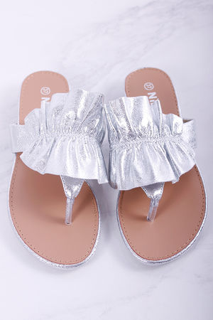 Ruffle Sandals Metallic Silver
