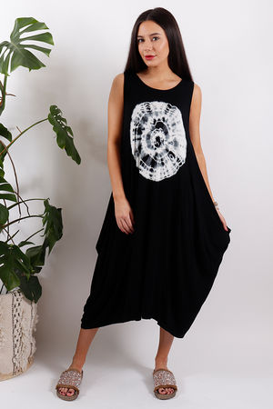 Sahara Fossil Parachute Dress Black