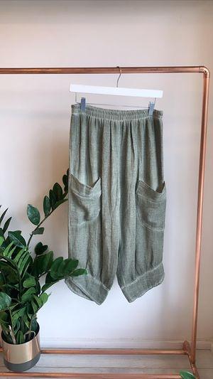 Sahara Hopsack Button Crop Pant Khaki