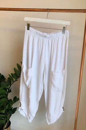 Sahara Hopsack Button Crop Pant White