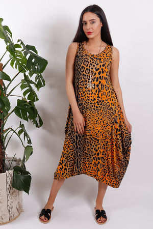 Sahara Leopard Parachute Dress Orange