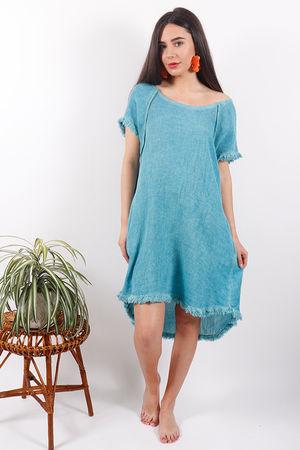 Sahara Raw Edge Dress Azure
