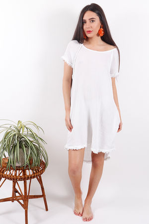 Sahara Raw Edge Dress White