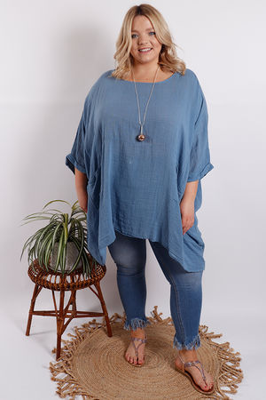 Santorini Oversized Top Denim