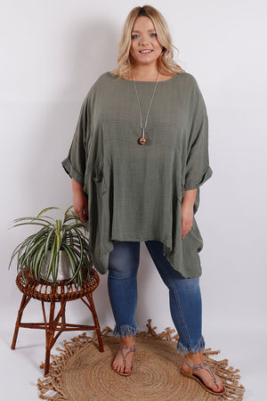 Santorini Oversized Top Khaki
