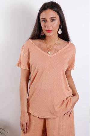 Santorini Raw V T Shirt Soft Terracotta