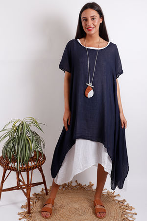 Two Layer Dress Navy