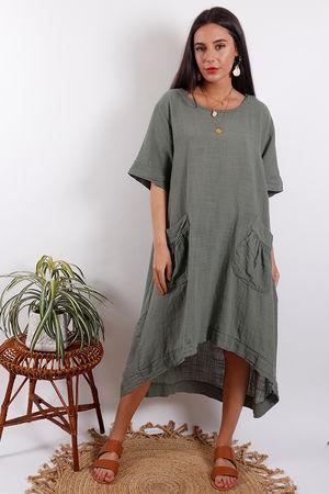 Santorini Two Pocket Dress Khaki