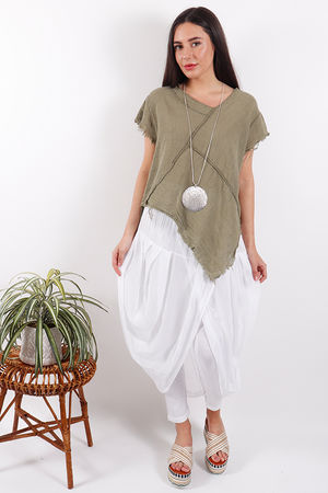 Savannah Raw Edge Top Khaki