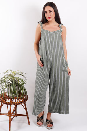 Savannah Stripe Dungaree Khaki
