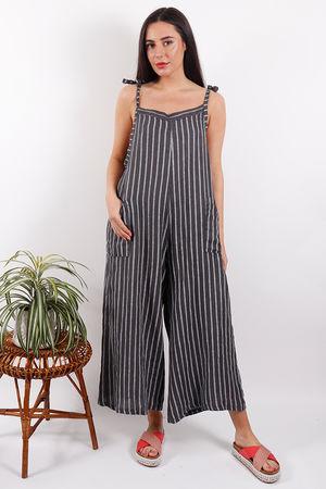 Savannah Stripe Dungaree Slate