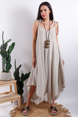 Savannah Textured Jumpsuit Stone