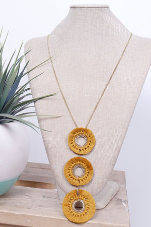 Savannah Three Drop Necklace Mustard