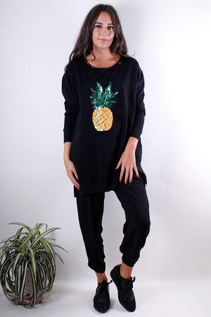 Sequin Pineapple Knit Black