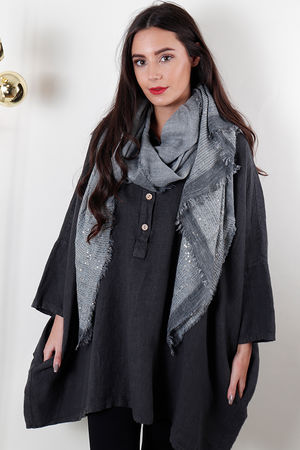Sequin Raw Edge Scarf