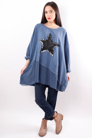 Sequin Star Panel Sweat Denim