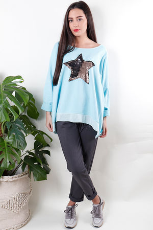 Sequin Star Sweat Aqua