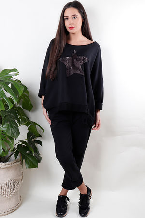 Sequin Star Sweat Black