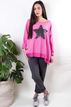 Sequin Star Sweat Cerise