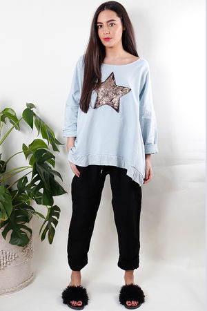 Sequin Star Sweat Powder Grey