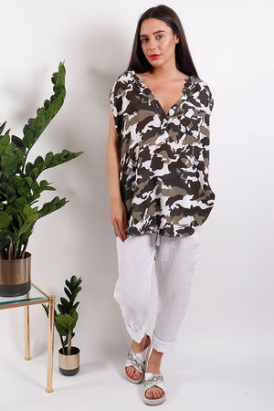 Seven Nations Oversized Camo Vest White