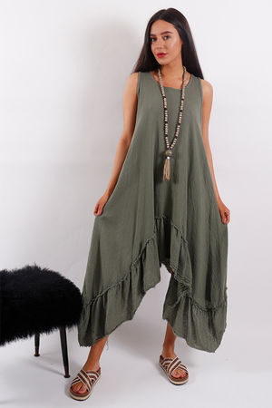 Seven Nations Ruffle Dress Khaki