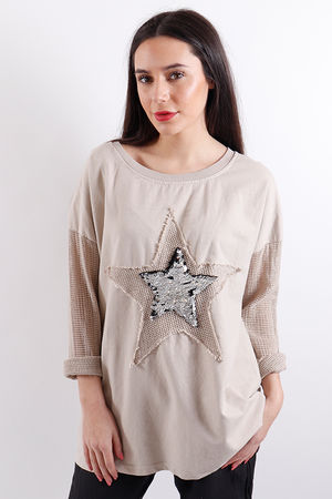 Seven Nations Textured Star Sweat Nude
