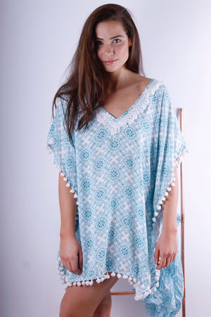 Shamsi Tassel & Pom Pom Love Blue Tunic
